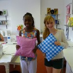 Oliva and Marianne with their cushions