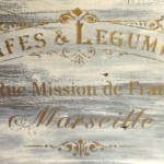 Grey cafe de legumes plaque Stencil